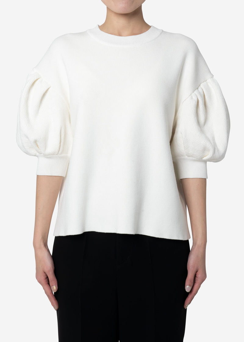 Stretch Cable Knit Drop Shoulder Puff Sleeve Sweater in Off White