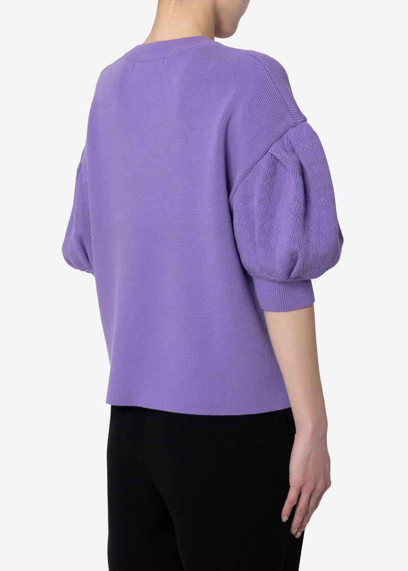 Stretch Cable Knit Drop Shoulder Puff Sleeve Sweater in Lavender