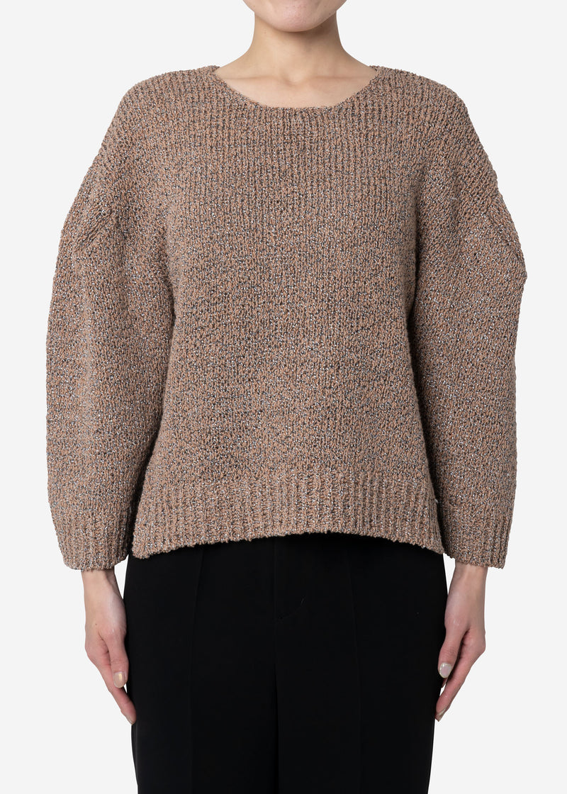 Wave Tape Knit Cropped Pullover Sweater in Beige