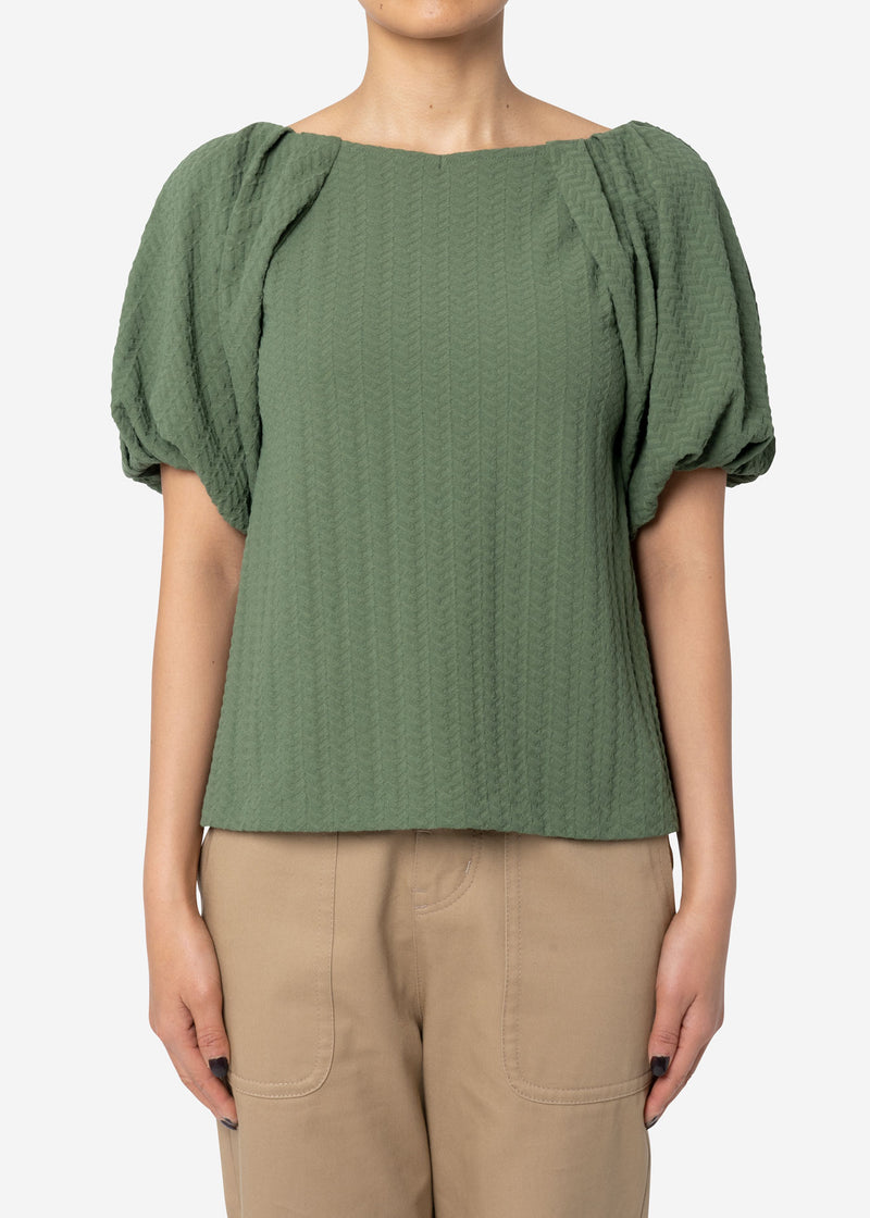 Twist Links Puff Sleeve Top in Olive