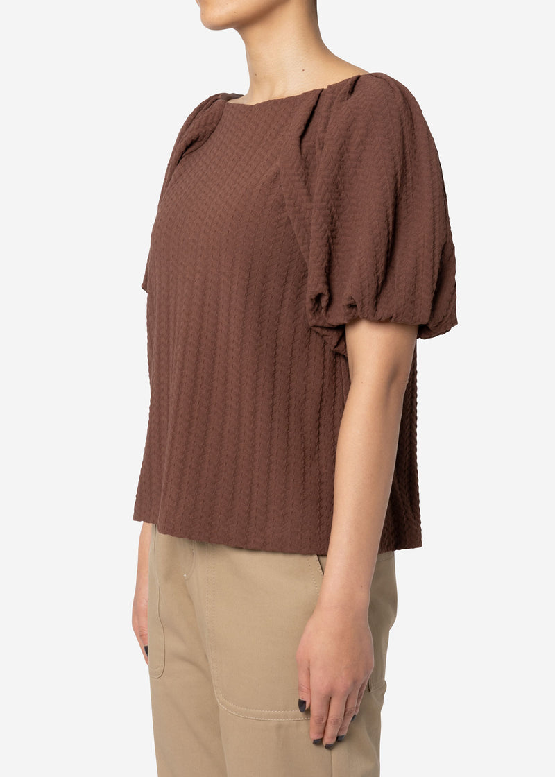 Twist Links Puff Sleeve Top in Brown