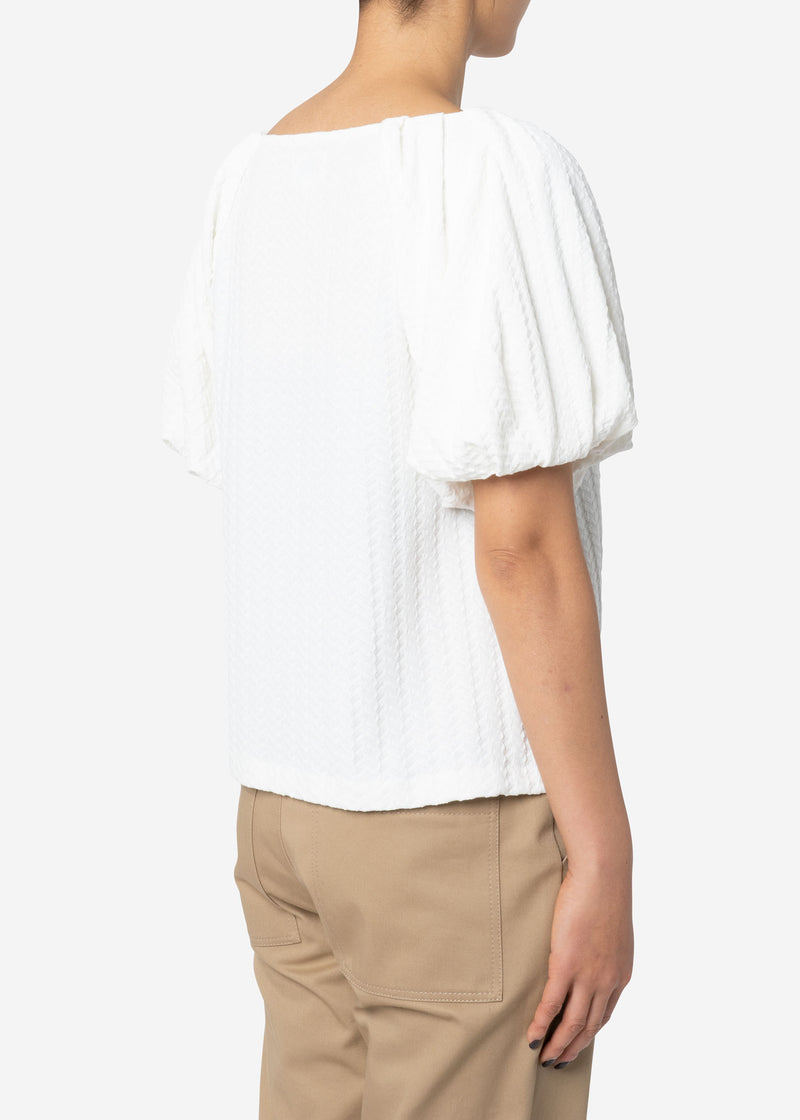 Twist Links Puff Sleeve Top in White