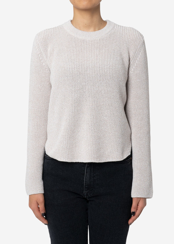 Dry Cotton Knit Cropped Sweater in Beige Mix