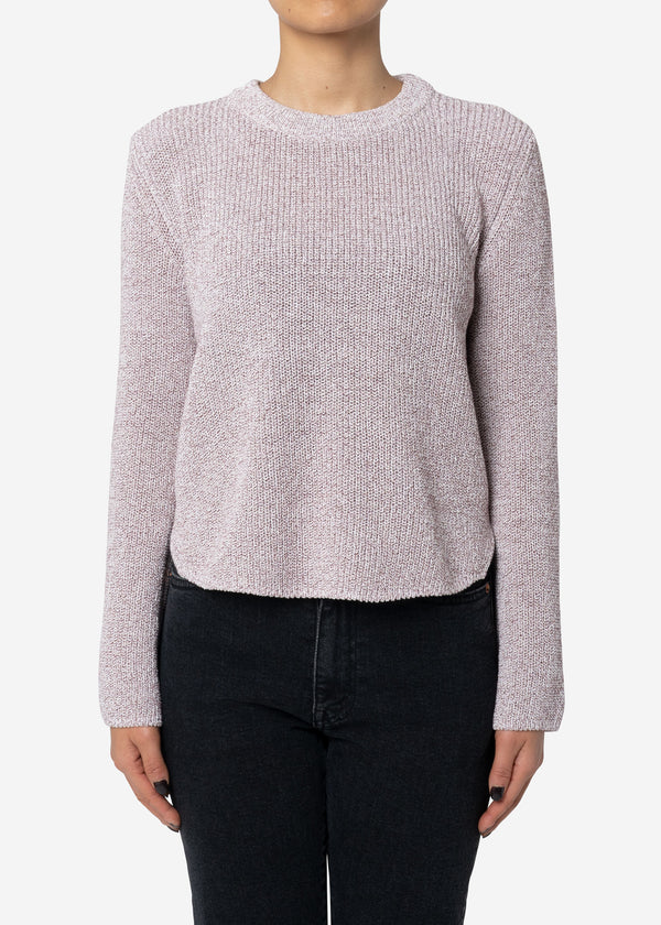 Dry Cotton Knit Cropped Sweater in Brown Mix
