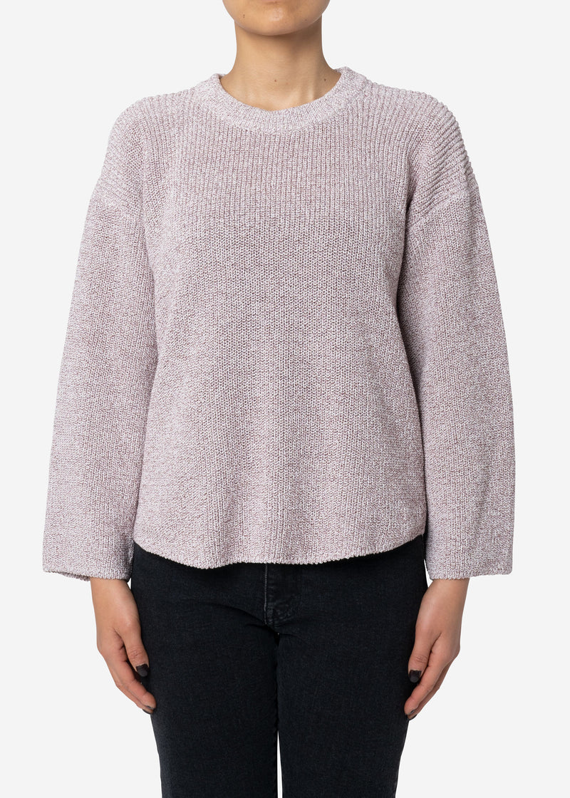 Dry Cotton Knit Drop Shoulder Sweater in Brown Mix