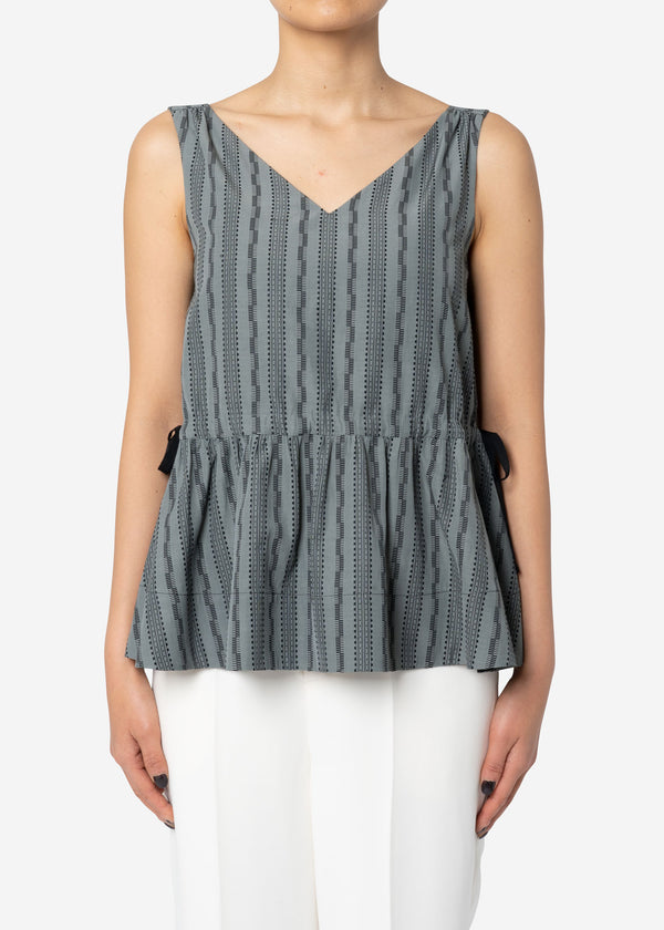 Dobby Stripes Waist Gathered Sleeveless in Khaki