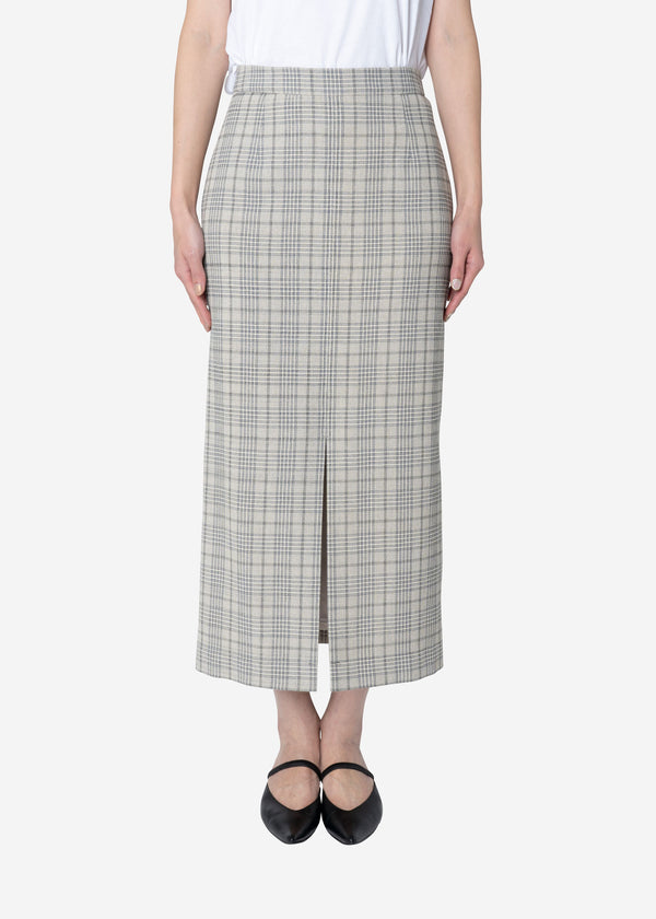 Cotton Over Plaid Midi Straight Skirt in Other