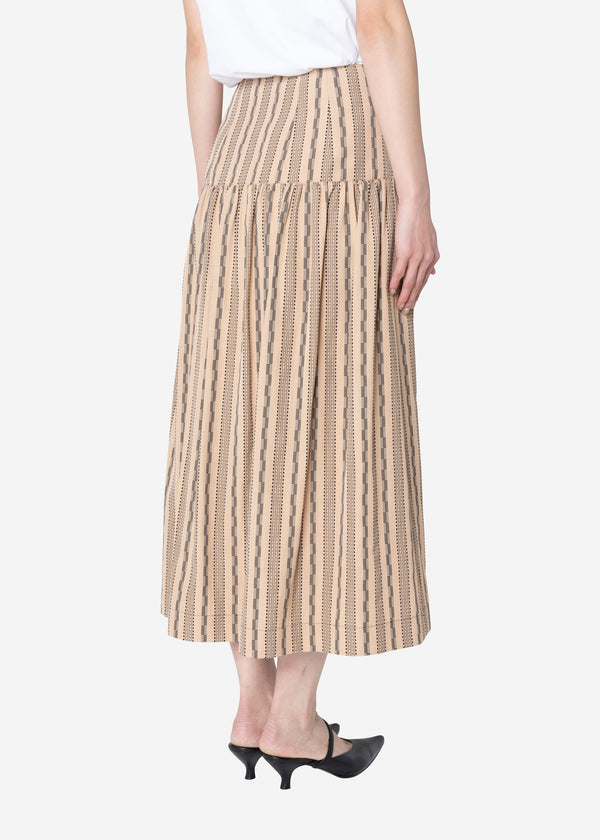 Dobby Stripes  Button Front Skirt in Beige