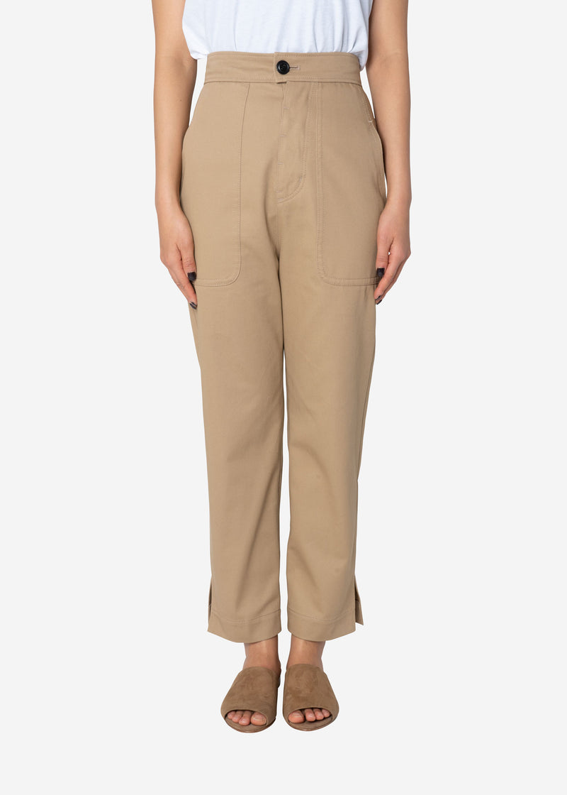 Combed Yarn Chino Fatigue Pants in Beige