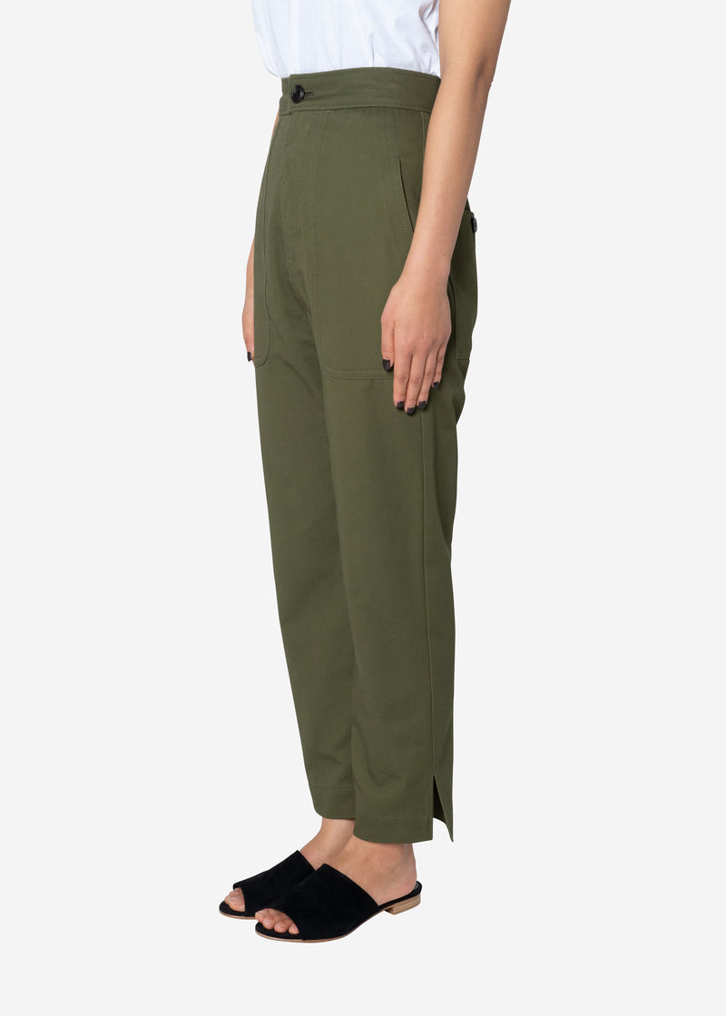 Combed Yarn Chino Fatigue Pants in Olive