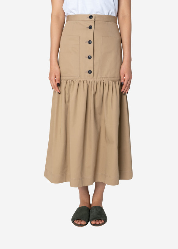 Combed Yarn Chino Gathered Skirt in Beige