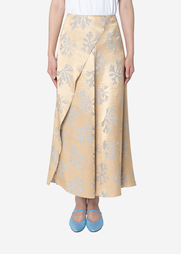 Coral Jacquard Wrap Skirt in Gold