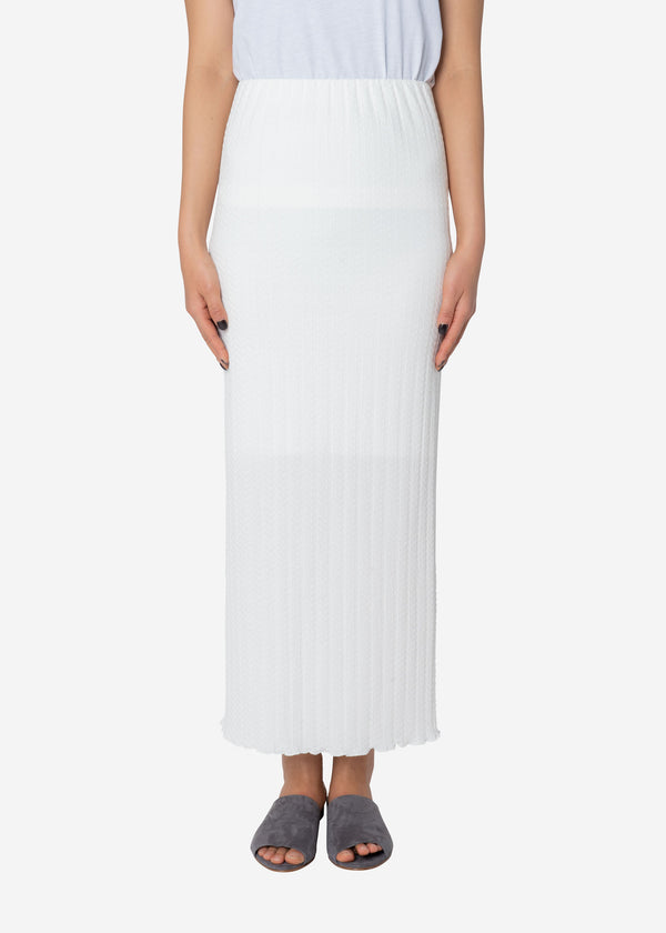 Twist Links Pencil Skirt in White