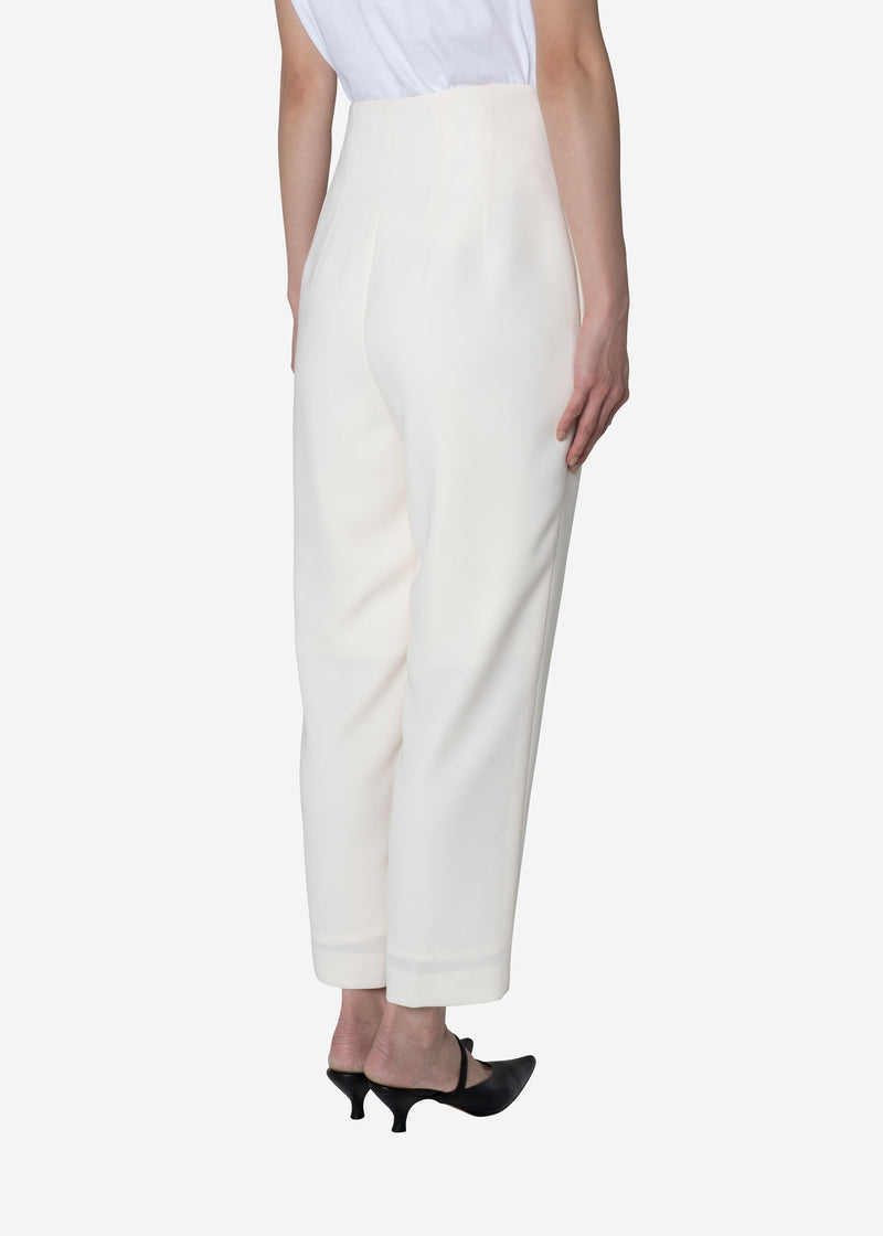 Double Weave High Waist Pants in Ivory