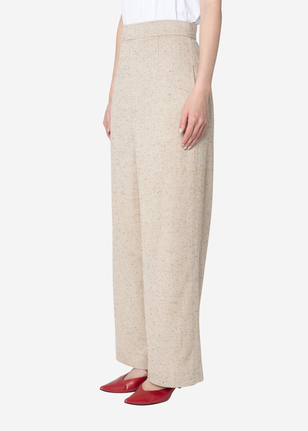 Silk Nep Herringbone High Waisted Pants in Light Beige