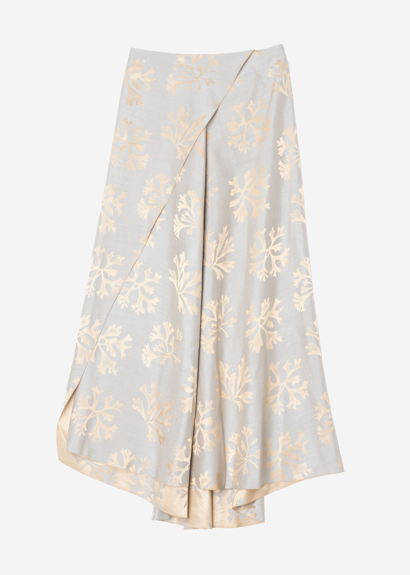 Coral Jacquard Wrap Skirt in Gray
