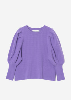Stretch Cable Knit Puff Sleeve Cropped Sweater in Lavender