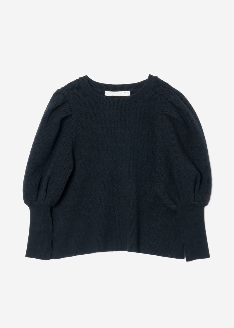 Stretch Cable Knit Puff Sleeve Cropped Sweater in Black