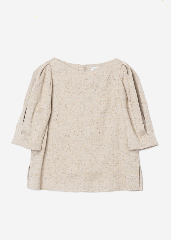 Silk Nep Herringbone Puff Sleeves Blouse in Light Beige