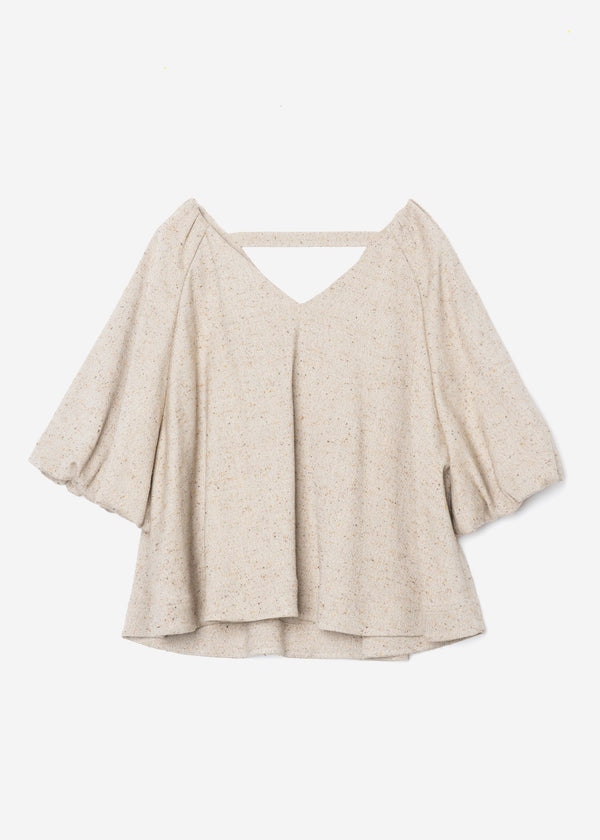Silk Nep Herringbone Raglan Sleeve Blouse in Light Beige