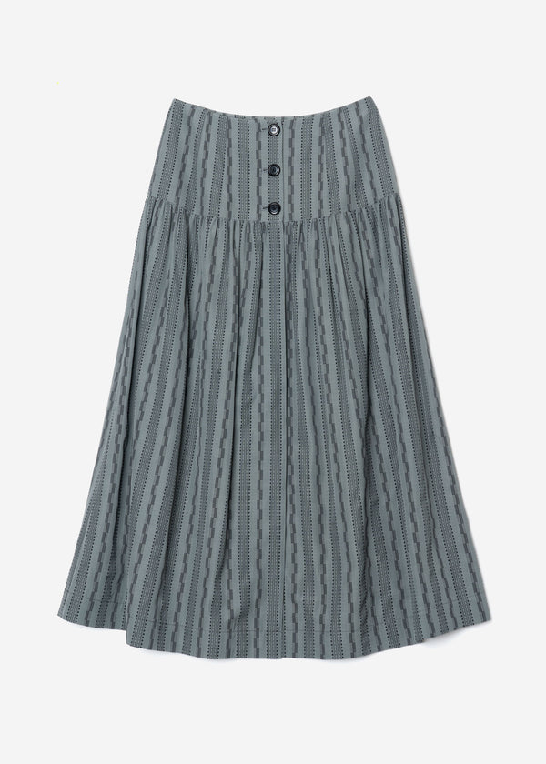 Dobby Stripes  Button Front Skirt in Khaki