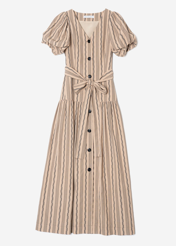 Dobby Stripes Waisted Ribbon Button Front Dress in Beige