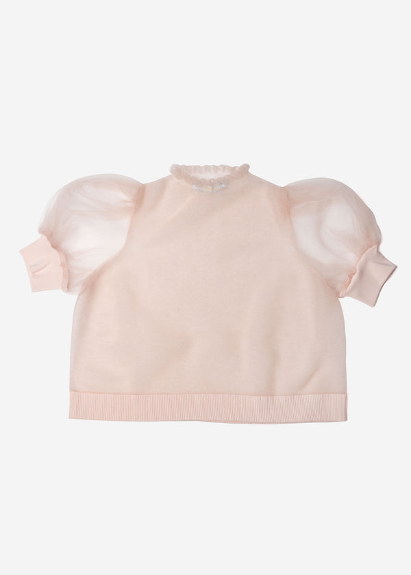 Sheer Knit Puff Sleeve Cropped Pullover Sweater in Light Pink