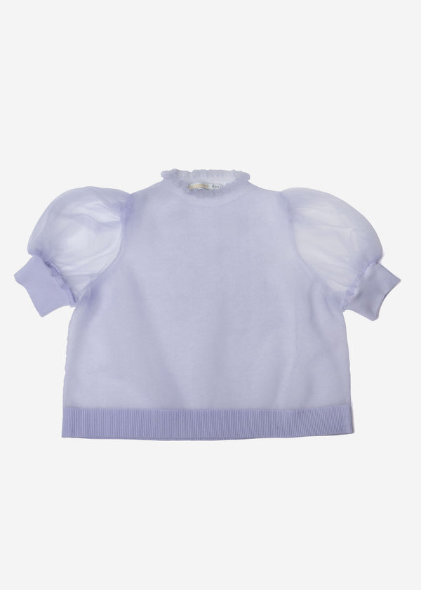 Sheer Knit Puff Sleeve Cropped Pullover Sweater in Lavender