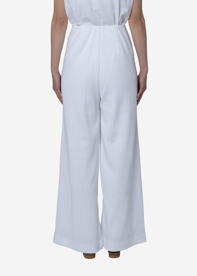 Limited Soft Cotton Rib Pants in White