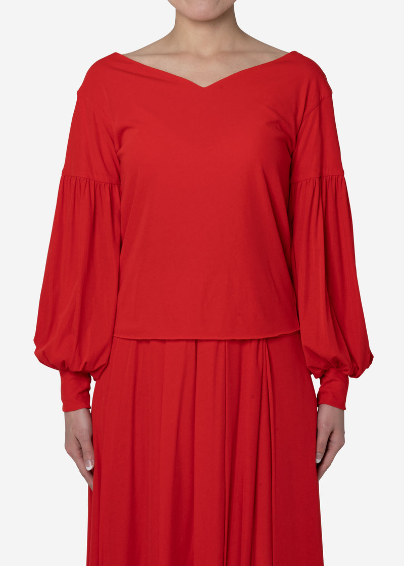 Limited Cosmorama High Gauge V-Neck Top in Red