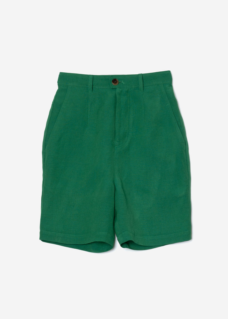 Linen Satin Half Pants in Green