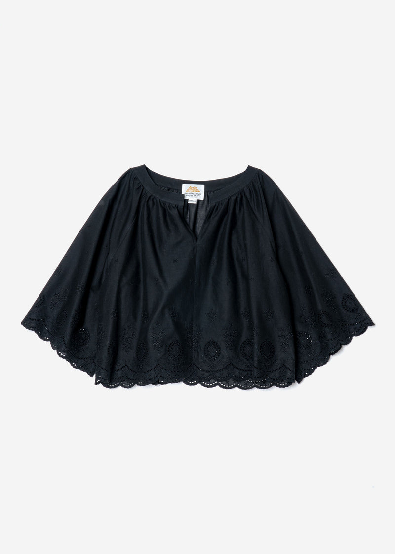 Scallop Embroidery‎ Raglan Blouse in Black