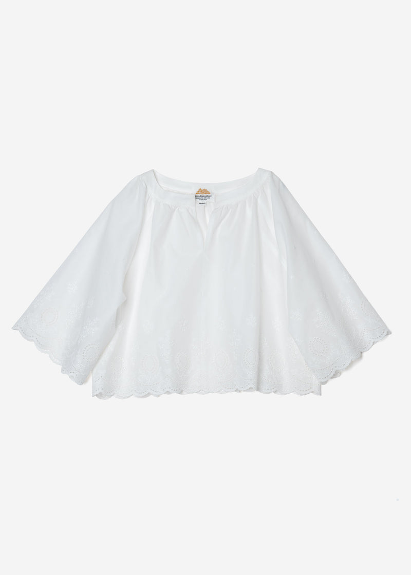 Scallop Embroidery‎ Raglan Blouse in White