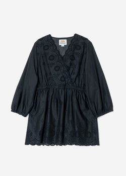 Scallop Embroidery Cache-coeur Tunic  in Black