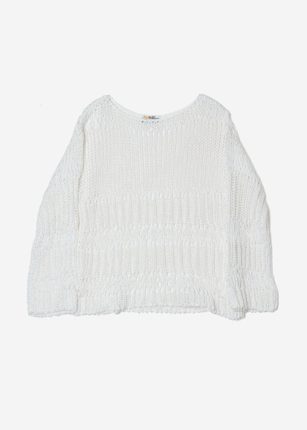 Loose Cotton Sweater in Off White