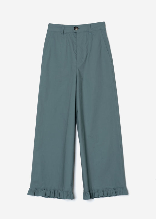 Air Stretch Typewriter Frill Pants in Sage