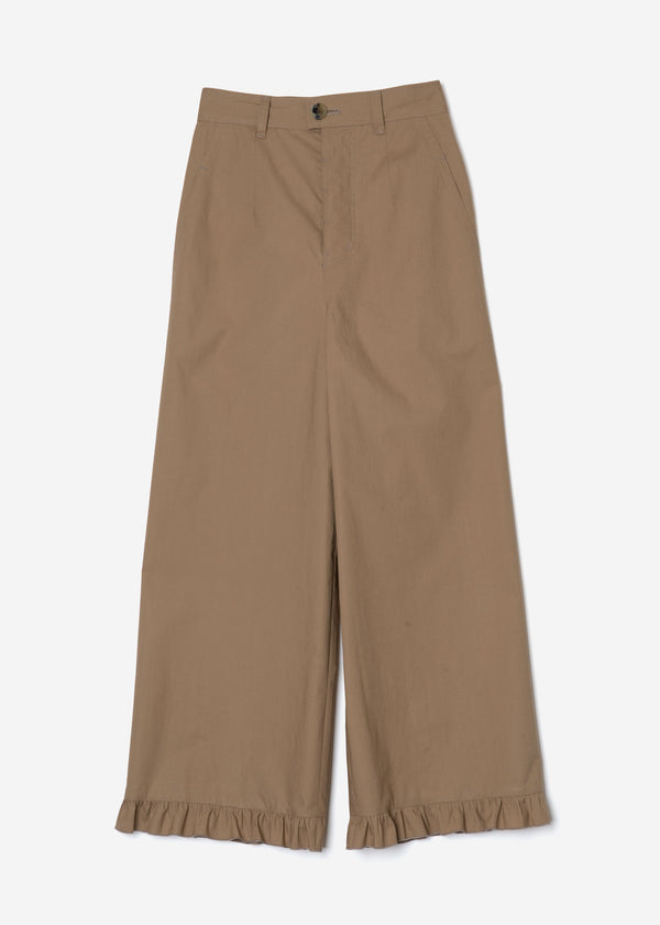 Air Stretch Typewriter Frill Pants in Beige