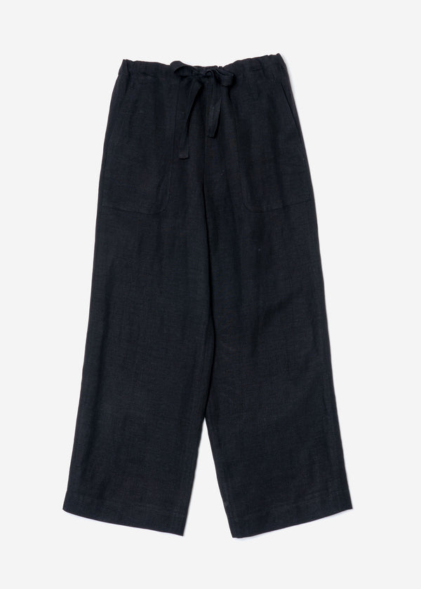 Linen Satin Pants in Black