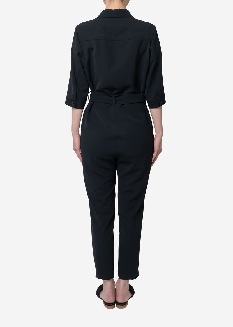 Dry Twill Washer Jumpsuit in Black