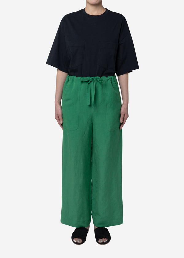 Linen Satin Pants in Green