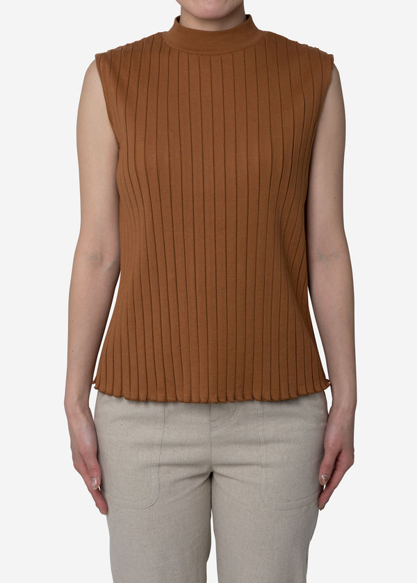 Wide Rib Sleeveless in Camel