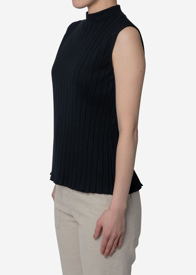 Wide Rib Sleeveless in Black