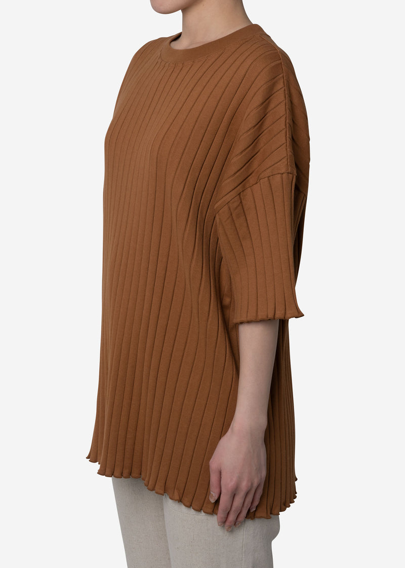 Wide Rib Big Short Sleeve in Camel