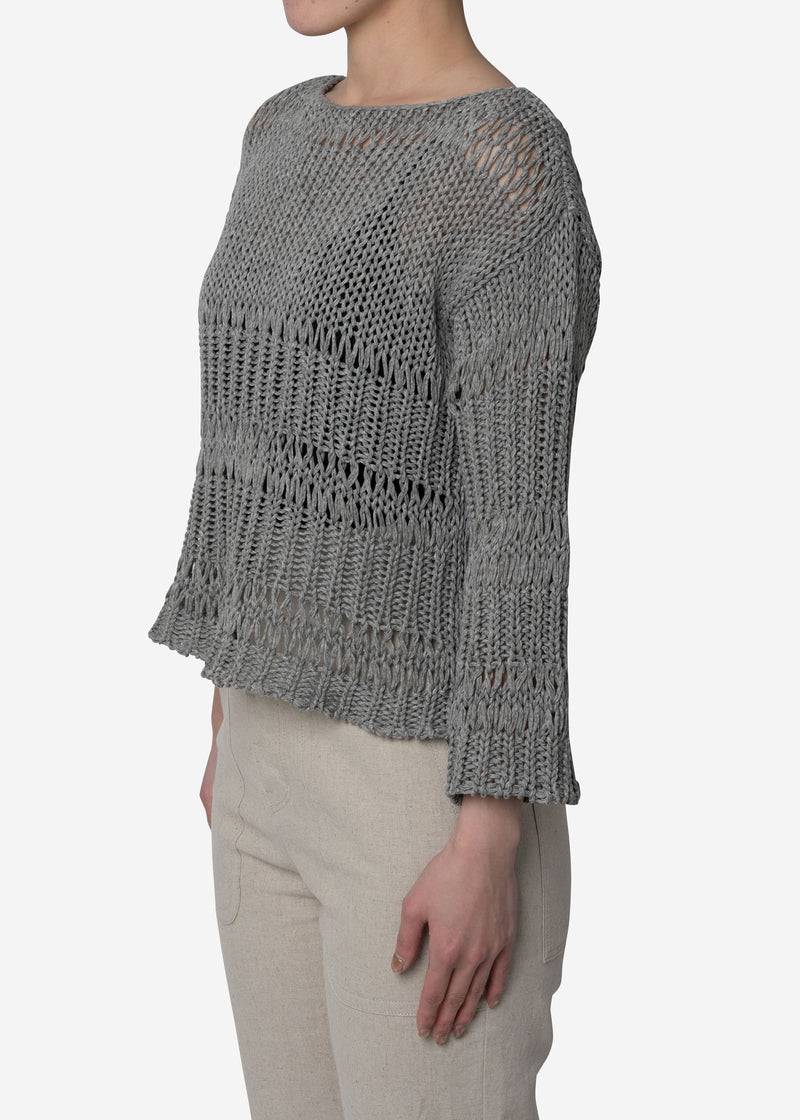 Loose Cotton Sweater in Gray