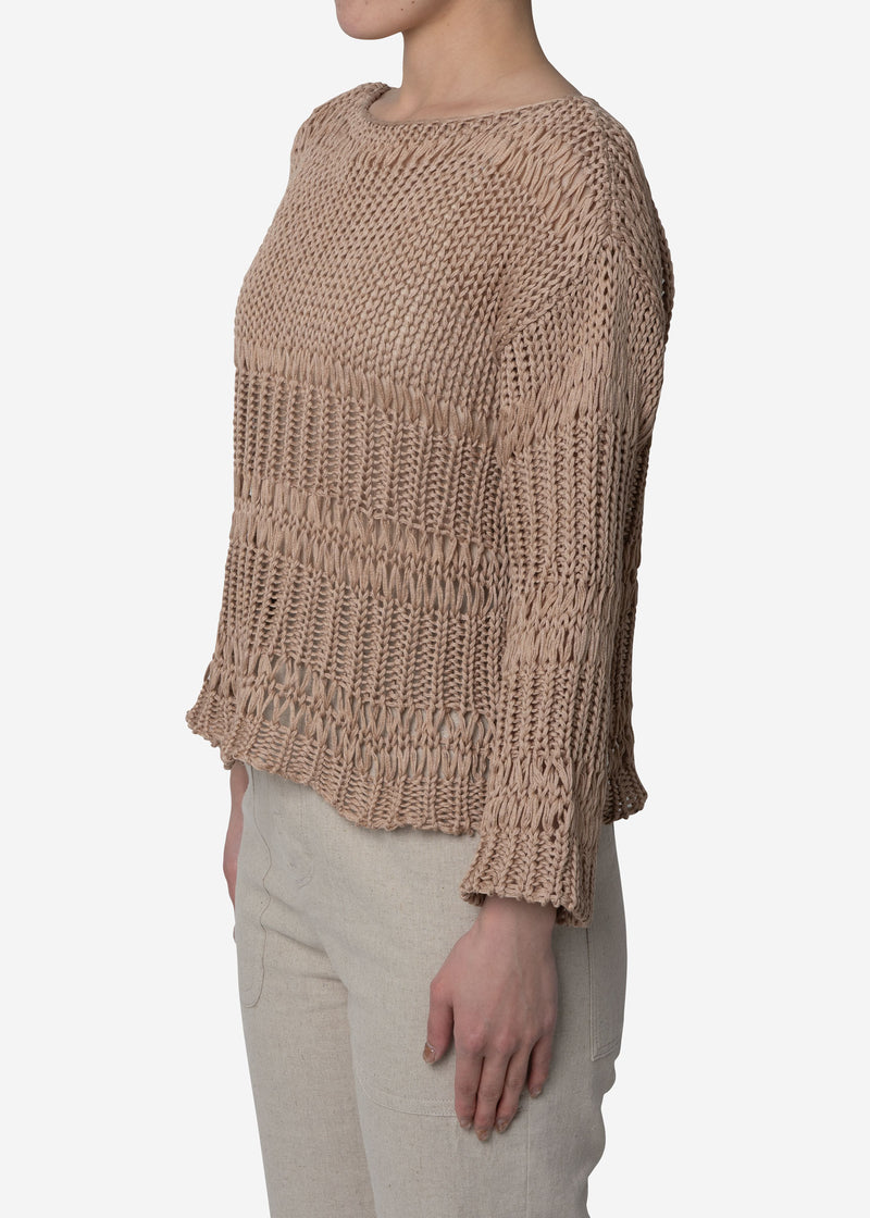 Loose Cotton Sweater in Beige