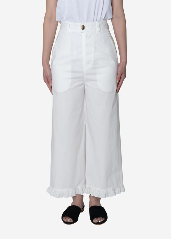 Air Stretch Typewriter Frill Pants in Off White