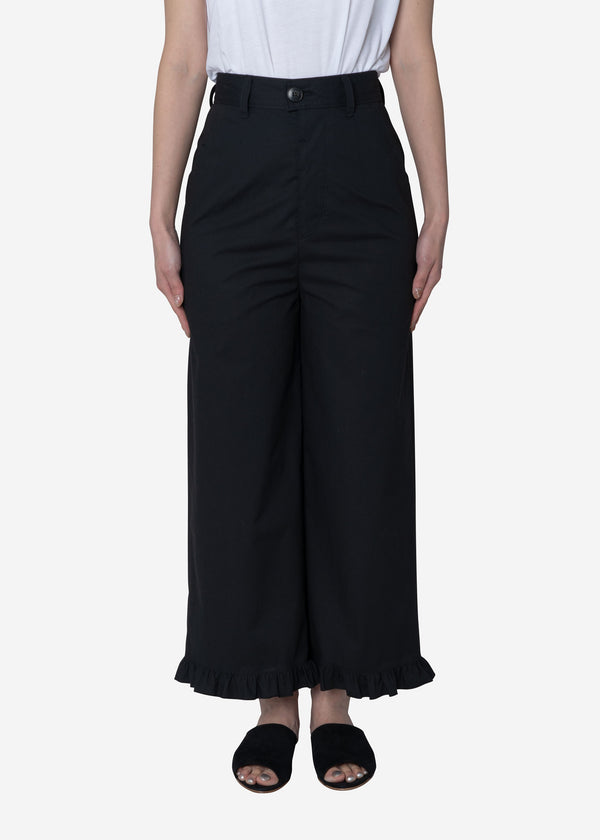 Air Stretch Typewriter Frill Pants in Black