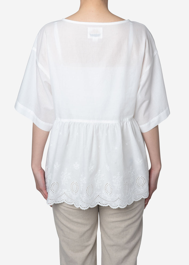 Scallop Embroidery Big Blouse in White