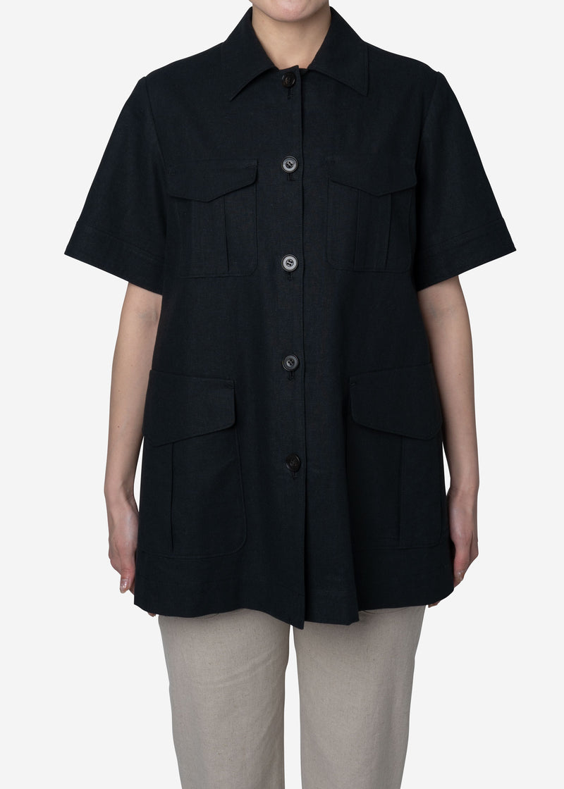 Soft Linen Canvas Jacket in Black