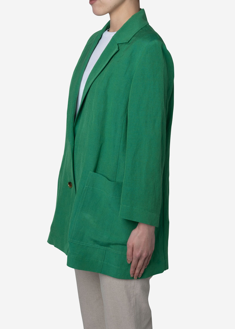 Linen Satin Jacket in Green